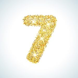 Seven number in golden style. Vector illustration gold design. Formed by yellow shapes. For party poster, greeting card, banner or invitation. Cute numerical icon and sign.