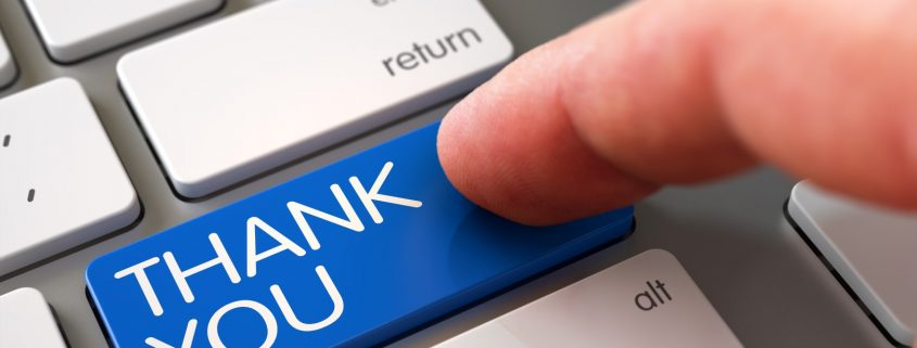 Pressing on thank you button